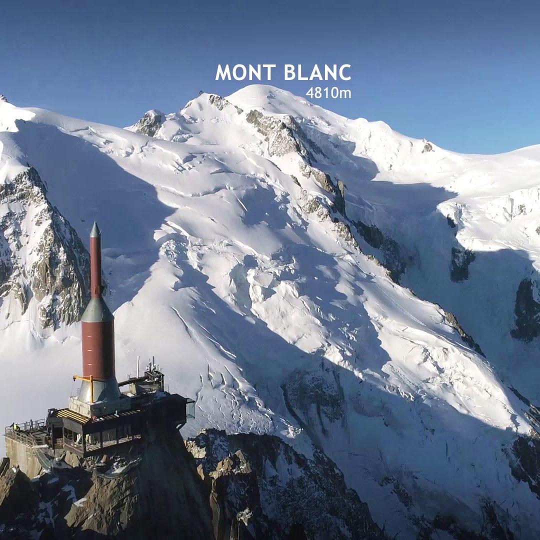 Vue du Mont Blanc et de l'aiguille du midi